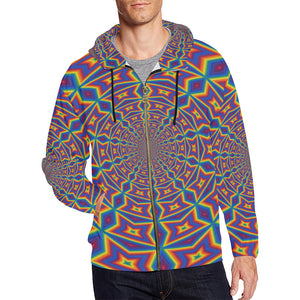 Groovy All Over Print Full Zip Hoodie for Men (Model H14)