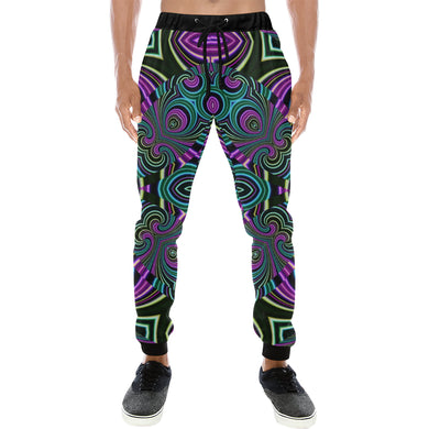 Neon Leafs Men's All Over Print Sweatpants (Model L11)