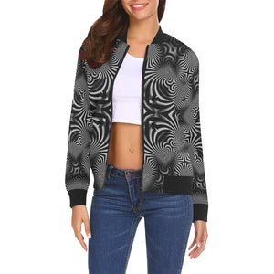 B+W All Over Print Bomber Jacket for Women (Model H19)