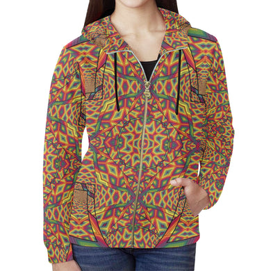 Beauty in Chaos All Over Print Full Zip Hoodie for Women (Model H14)