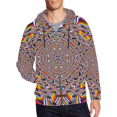Ripples All Over Print Full Zip Hoodie for Men (Model H14)