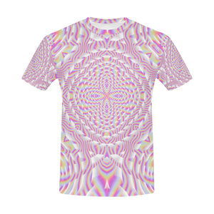 Pink Waves All Over Print T-Shirt for Men (USA Size) (Model T40)