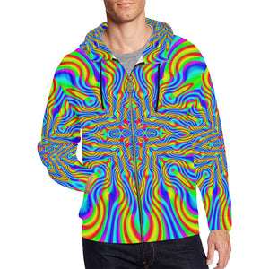 Higher Frequencies All Over Print Full Zip Hoodie for Men (Model H14)