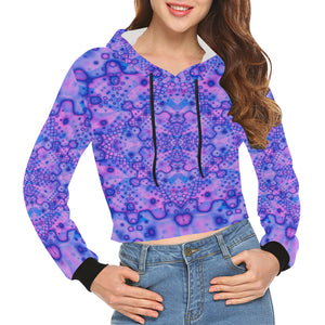 Lavender Dreaming All Over Print Crop Hoodie for Women (Model H22)