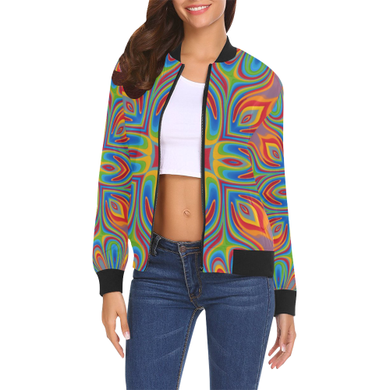 Lit All Over Print Bomber Jacket for Women (Model H19)
