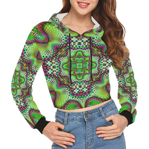 Borophyll All Over Print Crop Hoodie for Women (Model H22)