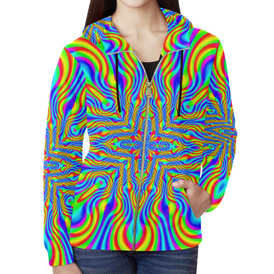 Higher Frequencies All Over Print Full Zip Hoodie for Women (Model H14)