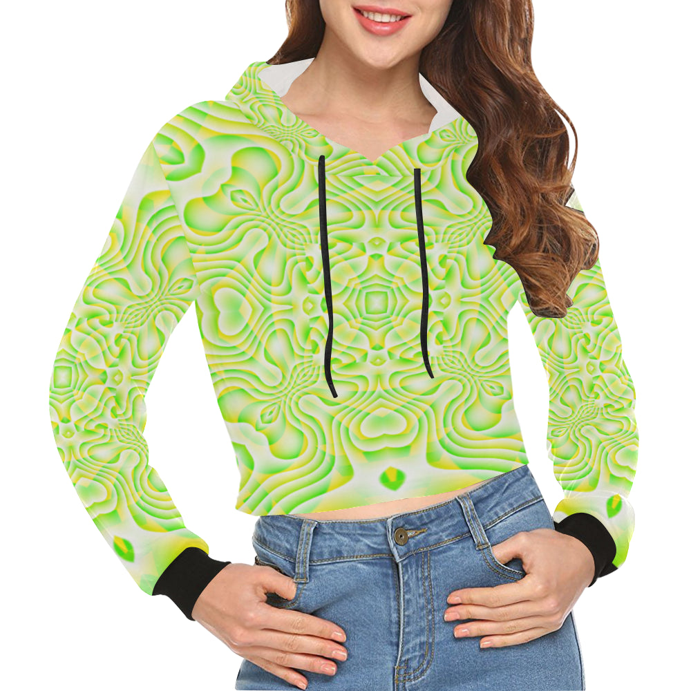 Lemon Lime All Over Print Crop Hoodie for Women (Model H22)