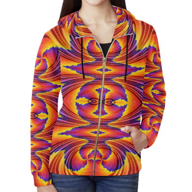 Firewave All Over Print Full Zip Hoodie for Women (Model H14)