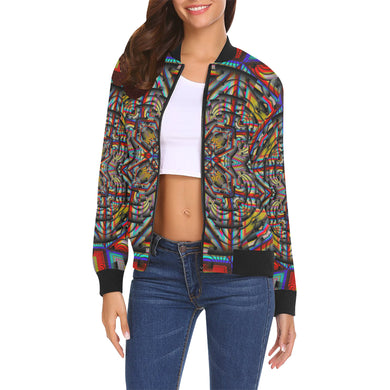 Generator All Over Print Bomber Jacket for Women (Model H19)