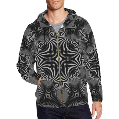 B+W All Over Print Full Zip Hoodie for Men (Model H14)