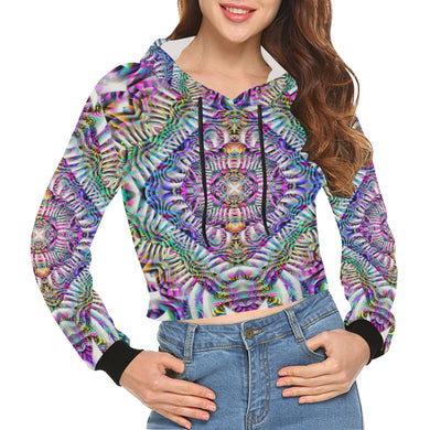 Coral Reefer All Over Print Crop Hoodie for Women (Model H22)