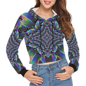 Luminous All Over Print Crop Hoodie for Women (Model H22)