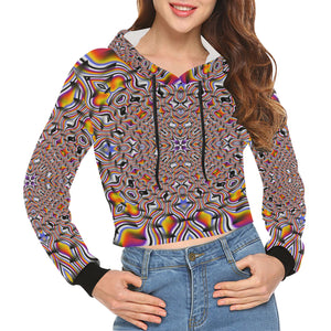 Ripples All Over Print Crop Hoodie for Women (Model H22)