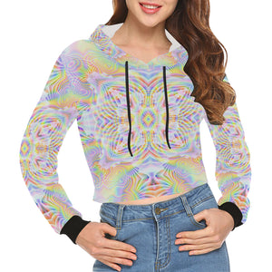 Pure Love All Over Print Crop Hoodie for Women (Model H22)