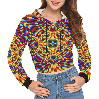 Pure Energy All Over Print Crop Hoodie for Women (Model H22)