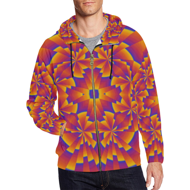 Pure Power All Over Print Full Zip Hoodie for Men (Model H14)