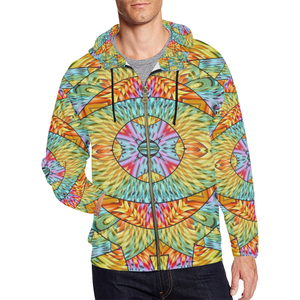 Eye of the Sun All Over Print Full Zip Hoodie for Men (Model H14)