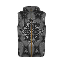 B+W All Over Print Sleeveless Zip Up Hoodie for Men (Model H16)