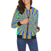 Higher Frequencies All Over Print Bomber Jacket for Women (Model H19)
