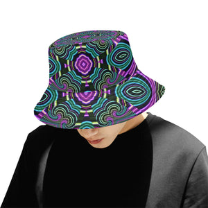 Neon Leafs All Over Print Bucket Hat for Men