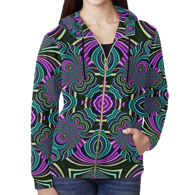 Neon Leafs All Over Print Full Zip Hoodie for Women (Model H14)