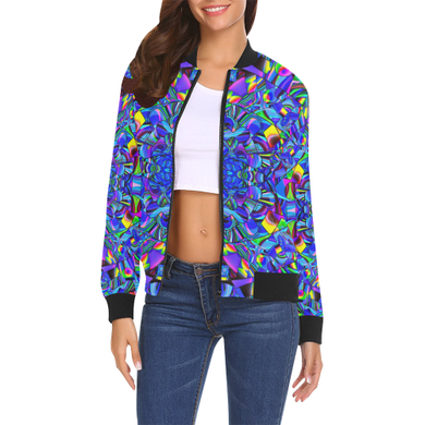 Hope in Blue All Over Print Bomber Jacket for Women (Model H19)