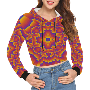 Pure Power All Over Print Crop Hoodie for Women (Model H22)