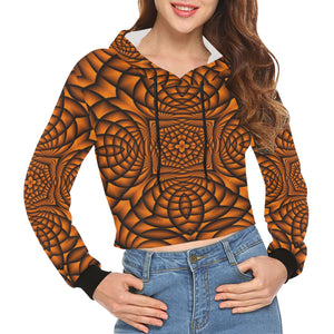 Pumpkin All Over Print Crop Hoodie for Women (Model H22)