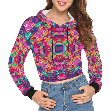 Valhalla All Over Print Crop Hoodie for Women (Model H22)