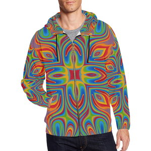 Lit All Over Print Full Zip Hoodie for Men (Model H14)