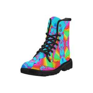 Rainbowdelik Martin Boots for Women (Black) (Model 1203H)
