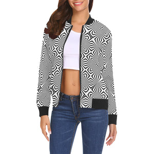 Fiber Optics All Over Print Bomber Jacket for Women (Model H19)