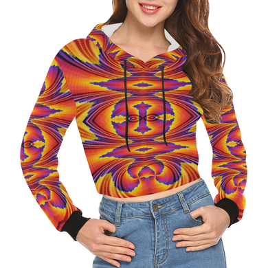 Firewave All Over Print Crop Hoodie for Women (Model H22)