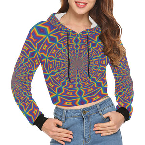 Groovy All Over Print Crop Hoodie for Women (Model H22)