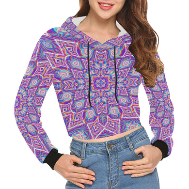 Delicate All Over Print Crop Hoodie for Women (Model H22)