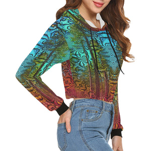 Trees for Friends All Over Print Crop Hoodie for Women (Model H22)