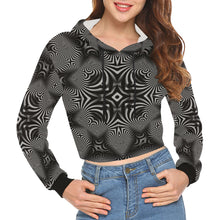 B+W All Over Print Crop Hoodie for Women (Model H22)
