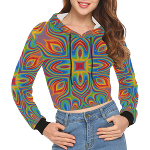Lit All Over Print Crop Hoodie for Women (Model H22)
