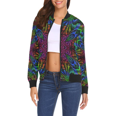 Subtropics All Over Print Bomber Jacket for Women (Model H19)