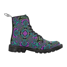 Neon Leafs Martin Boots for Women (Black) (Model 1203H)