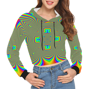 Color Flower All Over Print Crop Hoodie for Women (Model H22)