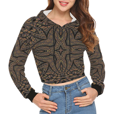 Elemental Earth All Over Print Crop Hoodie for Women (Model H22)
