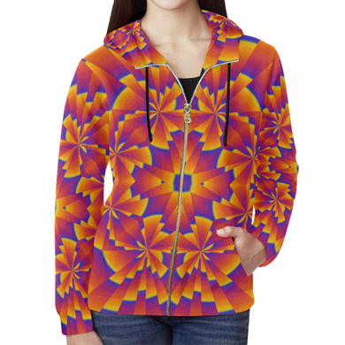 Pure Power All Over Print Full Zip Hoodie for Women (Model H14)