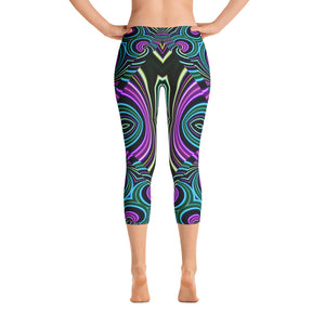 Neon Leafs Capri Leggings
