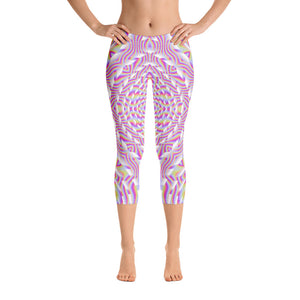 Pink Waves Capri Leggings