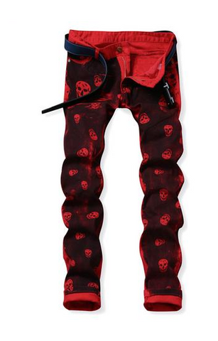 BLACK & RED SKULLED HIP HOP PANTS