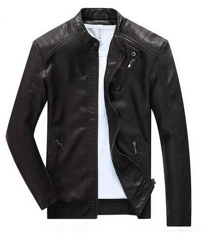BROWN LEATHER ZIP UP JACKET