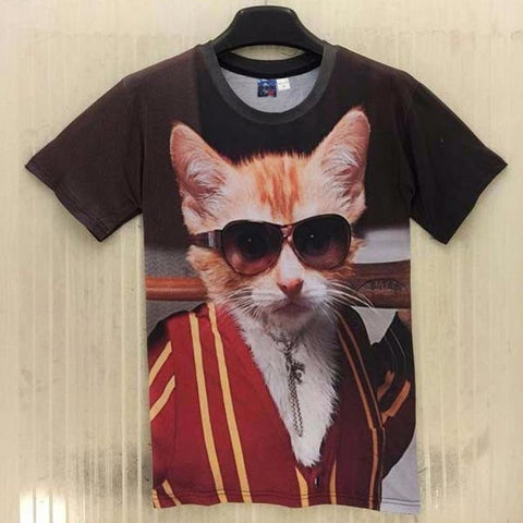 BIG BOSS CAT 3D PRINT T-SHIRT