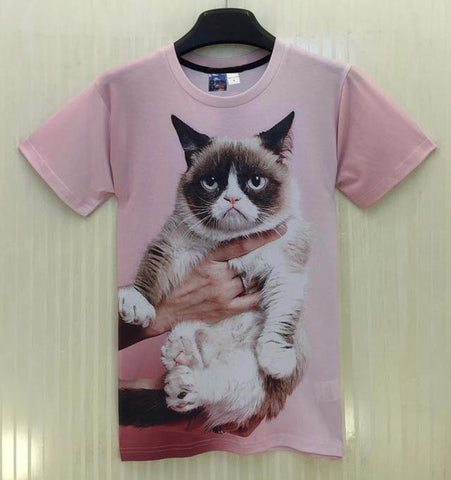 UNIMPRESSED CAT 3D PRINT T-SHIRT